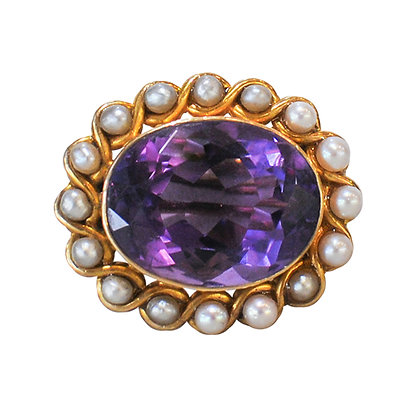 14/18K Yellow Gold Amethyst & Seed Pearl Pin
