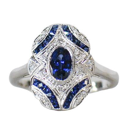 18K White Gold Sapphire & Diamond Vintage Inspired Ring