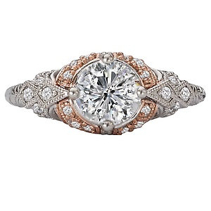 18K White & Rose Gold Diamond Semi-Mount Ring