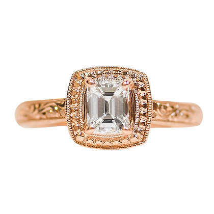 14K Rose Gold Emerald Cut Diamond Hand Engraved Solitaire Engagement Ring