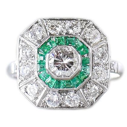 Vintage Platinum Emerald & Diamond Ring