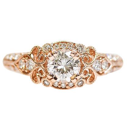 14K Rose Gold Filigree Vintage Inspired Diamond Ring