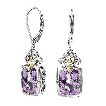 Sterling Silver Amethyst & 18K Yellow Gold Accent Earrings