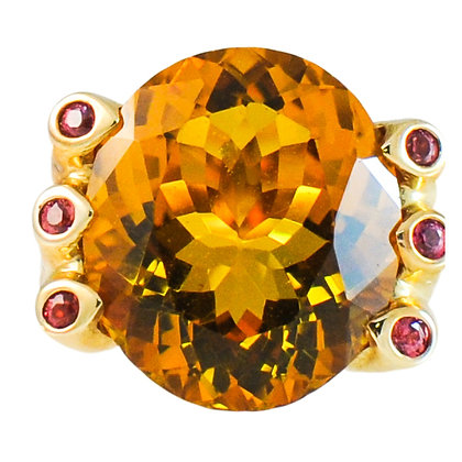 18K Yellow Gold Citrine & Ruby Accent Ring