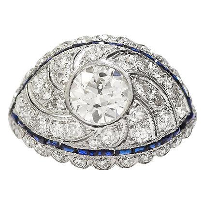 Vintage Platinum European Cut Diamond & Sapphire Ring