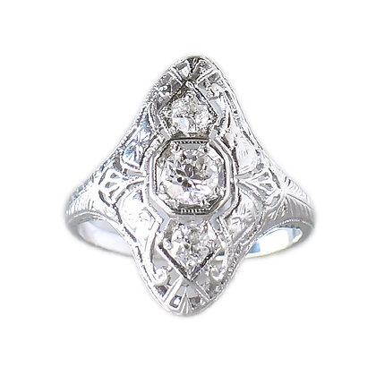 Vintage 18K White Gold 3 Euro-Cut Diamond Filigree Ring