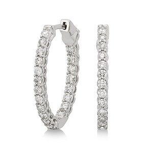 14K White Gold In and Out Diamond Hoop Earrings