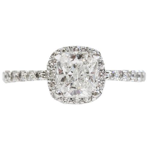 14k White Gold Cushion Cut Diamond Halo Ring