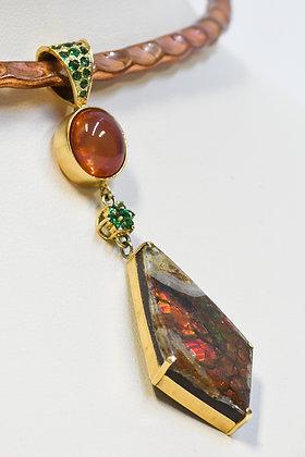 Custom 18K Yellow Gold Ammolite, Mexican Fire Opal & Tsavorite Garnet Pendant