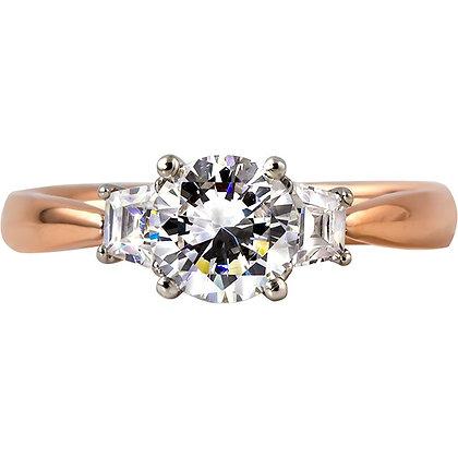 14K Rose & White Gold Diamond Ring