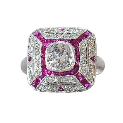 14K White Gold Ruby, White Sapphire & Diamond Vintage Inspired Ring