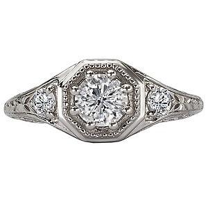 14K White Gold Diamond Vintage Inspired Ring