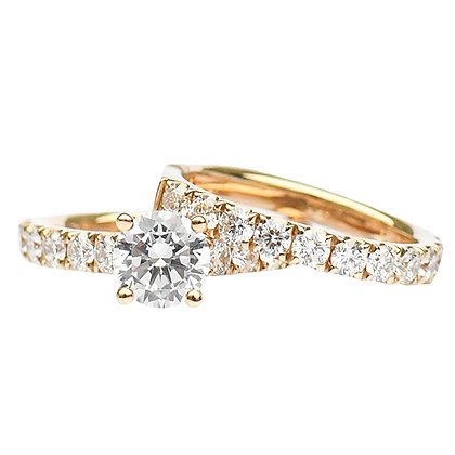14K Yellow Gold Diamond Semi-Mount Ring & Band