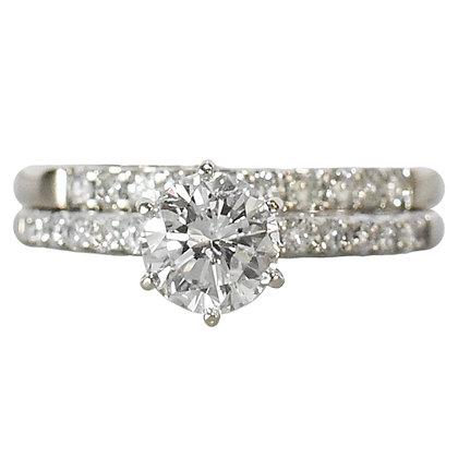 14K White Gold Diamond Ring with Matching Diamond Band