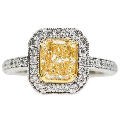 Vintage 18K White Gold Radiant Cut Fancy Yellow Diamond Hand-Engraved Ring