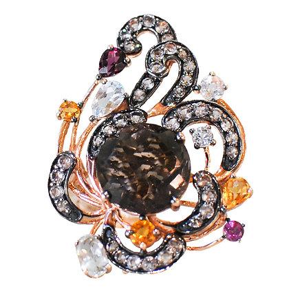 14K Rose Gold Smoky Quartz, Chocolate Diamond & Multi Colored Sapphire Ring