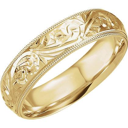 14K Yellow Gold Milgrain Engraved Band