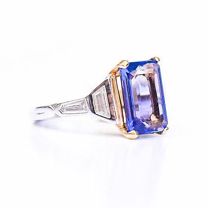 Platinum & 18K Yellow Gold Tanzanite & Diamond Ring