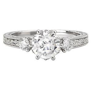 18K White Gold Engraved Diamond Semi-Mount Ring