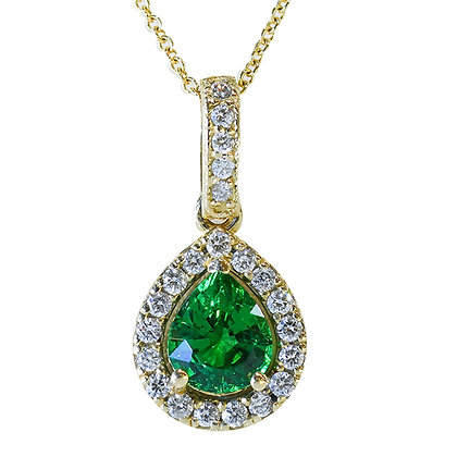 14K Yellow Gold Emerald & Diamond Halo Necklace