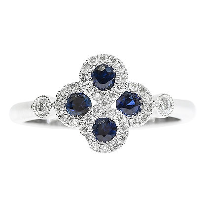 14K White Gold Sapphire & Diamond Flower Ring