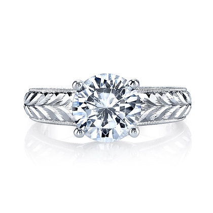 14K White Gold Solitaire Hand Engraved Semi-Mount Ring