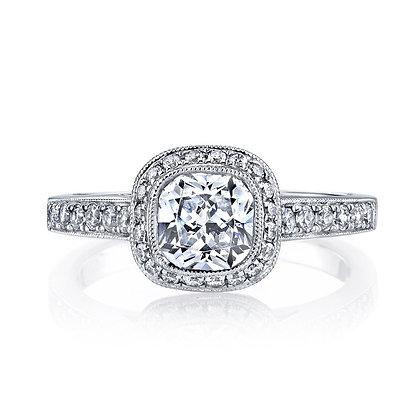 14K White Gold Diamond Halo Semi-Mount Ring