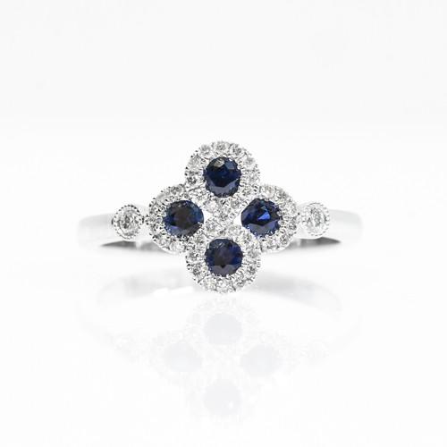 14k white gold sapphire diamond flower ring village jewelers 14k white gold sapphire diamond flower ring mightylinksfo