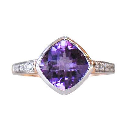 14K Rose & White Gold Amethyst & Diamond Ring