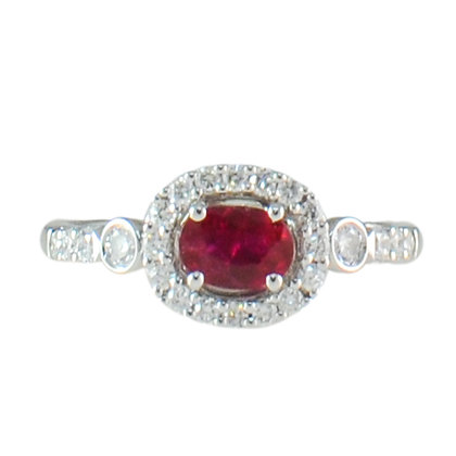 14K White Gold Ruby & Diamond Halo East to West Ring