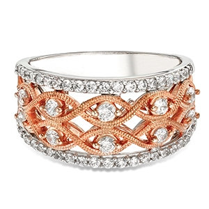 14K White & Rose Gold Diamond Band