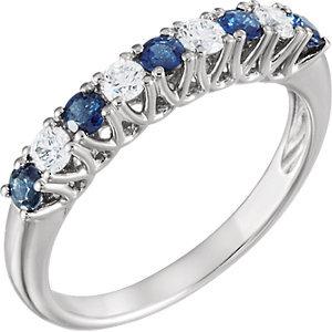14K White Gold Sapphire & Diamond Band