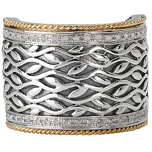 Sterling Silver Diamond Band with 18K Yellow Gold Accents