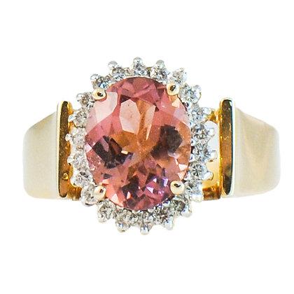 14K Yellow Gold Pink Tourmaline & Diamond Flower Ring