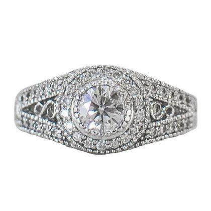 14K White Gold Diamond Bezel Set Ring