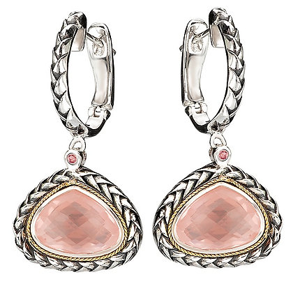 Sterling Silver Rose Quartz with Pink Tourmaline Accent Earrings