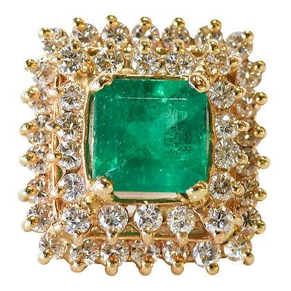 Vintage 14k Yellow Gold Emerald & Diamond Ring