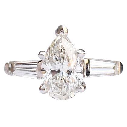 14K White Gold Pear Cut Diamond Ring