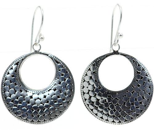 Sterling Silver Bali Round Drop Earrings