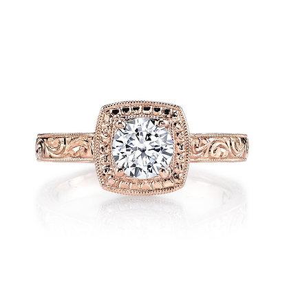 14K Rose Gold Hand Engraved Semi-Mount Ring