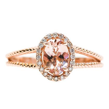 14K Rose Gold Morganite & Diamond Oval Halo Ring