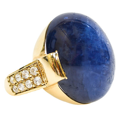 Custom Designed 60ct Blue Star Sapphire Ring with White Sapphires in 18K Gold