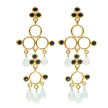 18K Yellow Gold Sapphire & Aqua Briolette Chandelier Earrings