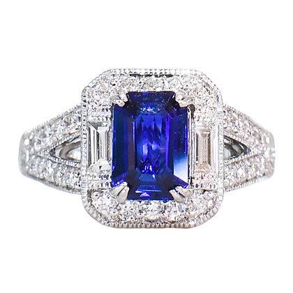 18K White Gold Sapphire & Diamond Ring