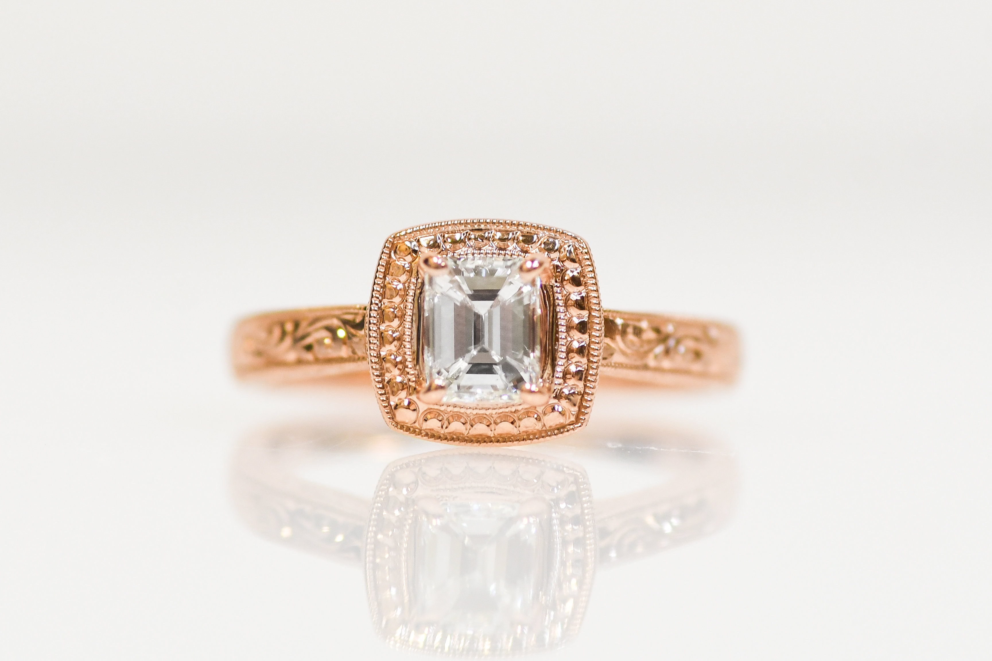 69aedbd1c7e2c 14K Rose Gold Emerald Cut Diamond Hand Engraved Solitaire Engagement Ring