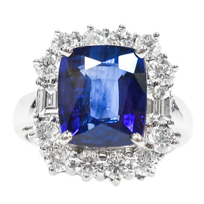18K White Gold Cushion Cut Sapphire & Diamond Halo Ring