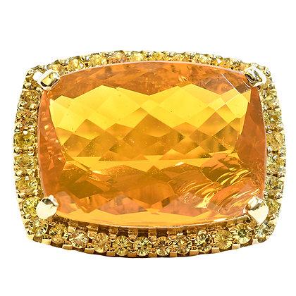 18K Yellow Gold Mexican Opal, Yellow Sapphire & Diamond Ring