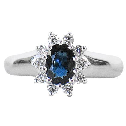 14K White Gold Sapphire & Diamond Halo Ring