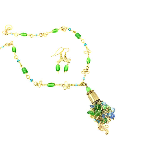 Sea Glass Bullet Shell Necklace Set