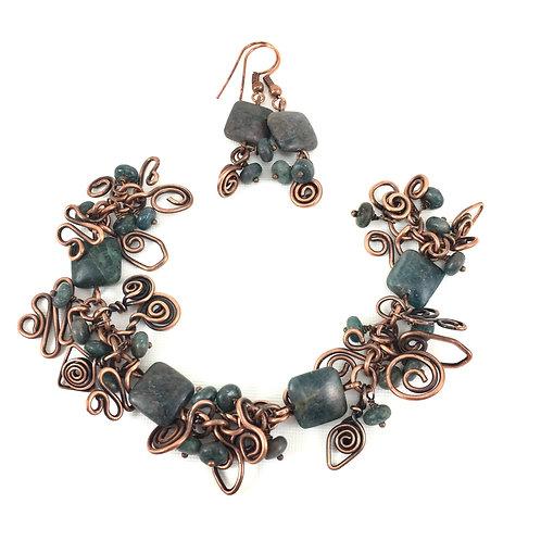 Chunky Copper Charm Bracelet Set